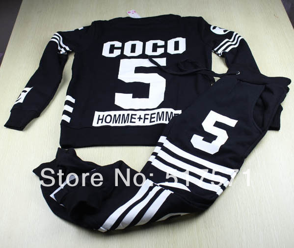 brand men women homme femme coco sport Suit sweatshirt hoodies and pants SET tracksuit sweater-in Hoodies & Sweatshirts from Apparel & Accessories on Aliexpress.com