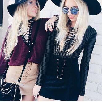 skirt lace up skirt black skirt camel skirt suede skirt top lace up top burgundy top striped top sunglasses mirrored sunglasses dior sunglasses bag black bag