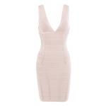 Clothing : Bandage Dresses : 'Jenna' Nude V Neck Bandage Dress