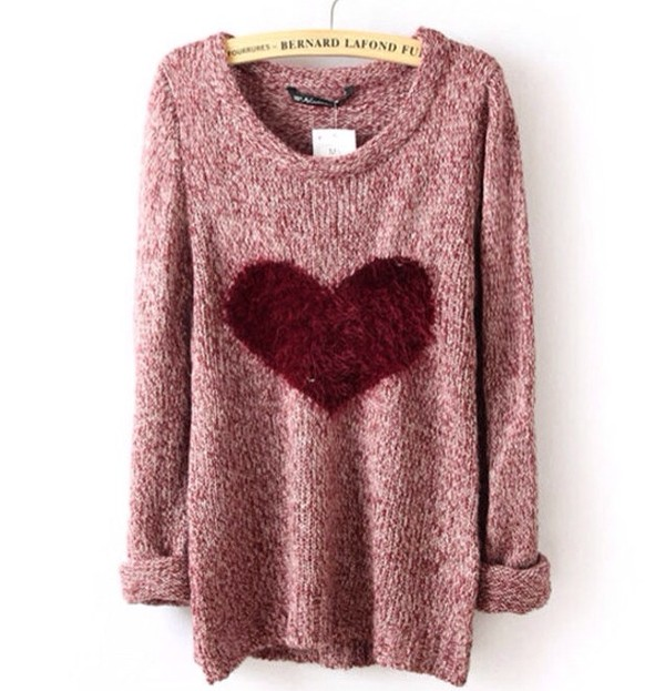 sweater pink heart girly warm cute winter outfits cold heart sweater