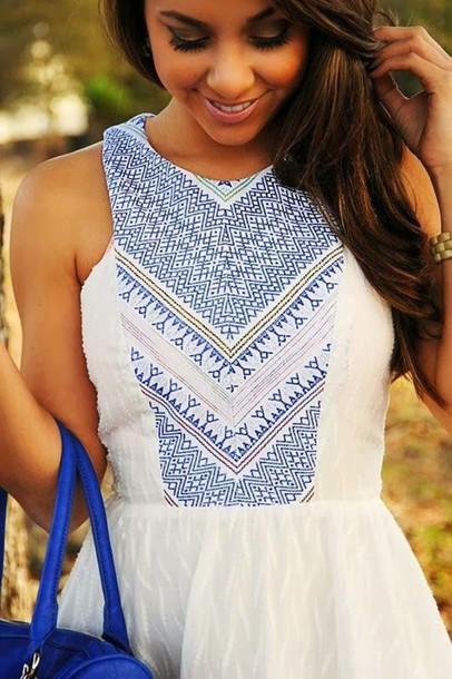 dress white dress blue detail