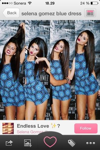 dress summer blue gomez clothes flowers floral print beautiful fashion selena gomez summer dress blue dress print dress shopping selena stars dance blouson