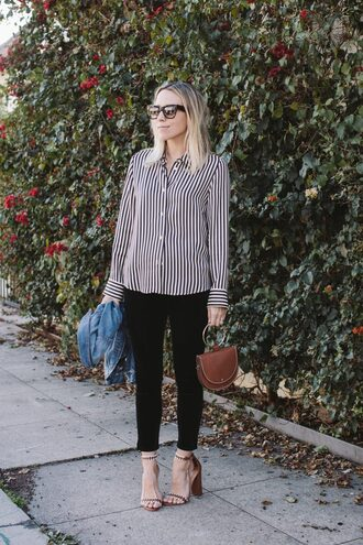 damsel in dior blogger jacket top pants bag shoes striped shirt brown bag denim jacket high heel sandals black pants