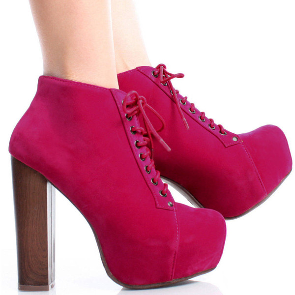 Pink-Suede Lace Up Women Faux Wooden Chunky Heel Platform An... - Polyvore