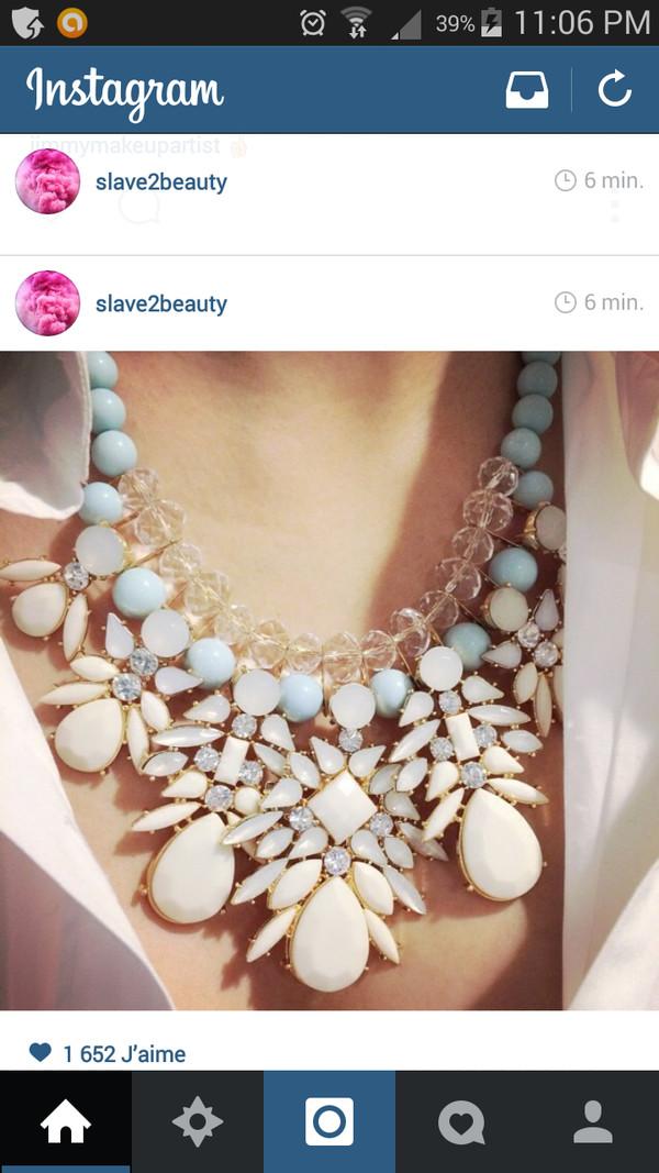 jewels necklace neck collier pretty blanc bleu white blue