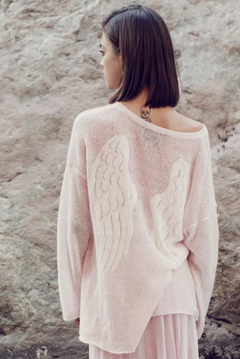 Wildfox Couture Guardian Angel Ringo Sweater in Pink Lipstick