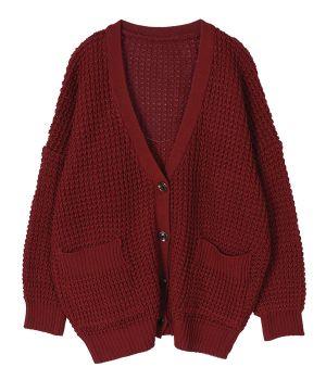 AnnaKastle Women's Chunky Waffle Knit Boyfriend Cardigan Sweater size M-L in Burgundy