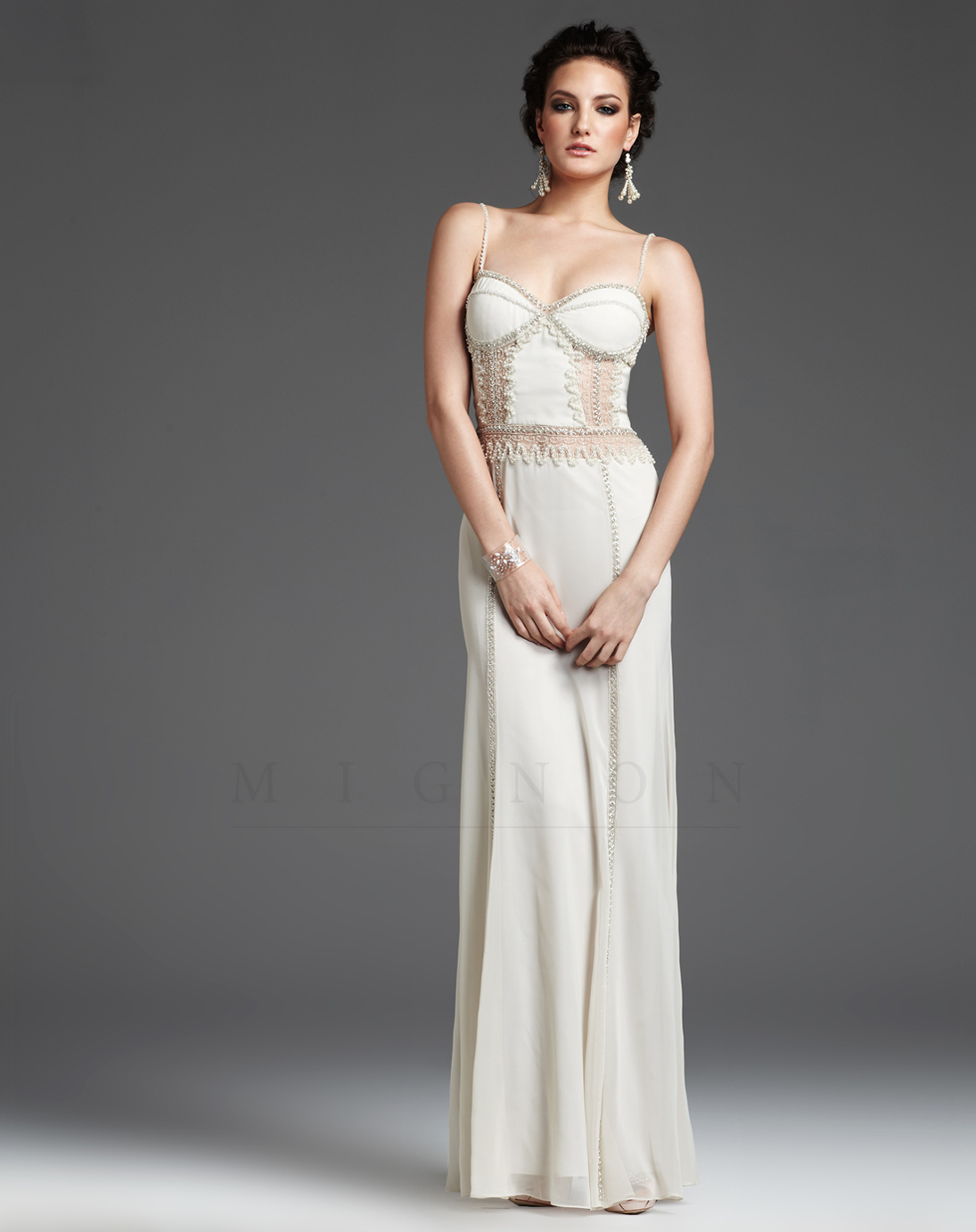 prom dresses ivory embroidered illusion back prom dress