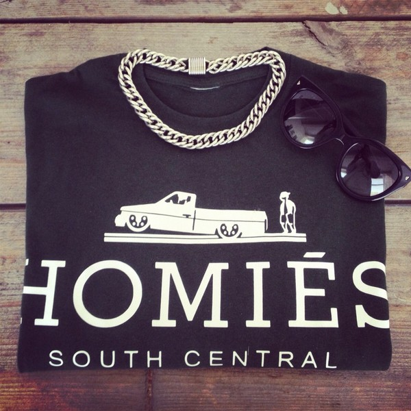 shirt black white grey homies jewels homies south central black white homies south central streetwear urban black t-shirt homies black t shirt brand t-shirt black crop top jewelry sunglasses summer outfits black crop top