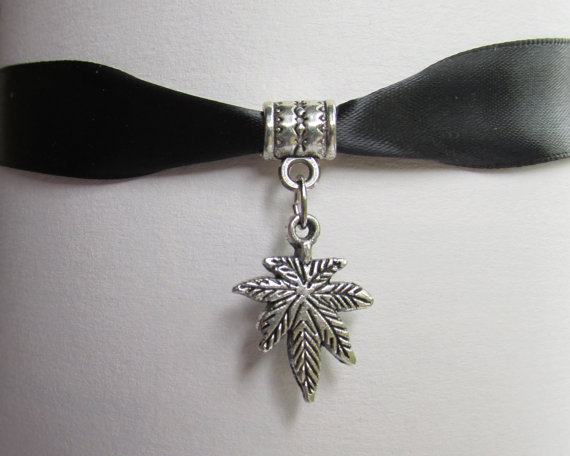 Pot Leaf Choker Black Satin Ribbon Pot Leaf Charm by IsleOfCraftin