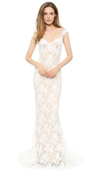 Reem Acra Lace Low Back Gown   SHOPBOP