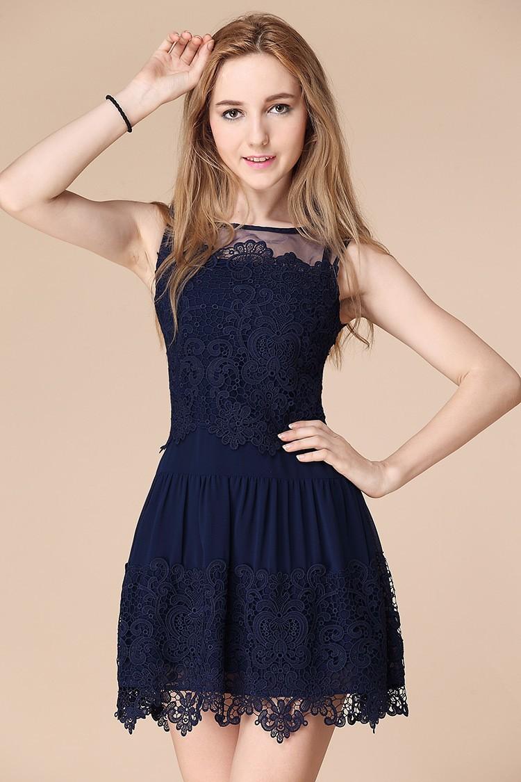 Lana's items                  - Silk organsa lace dress blue, white