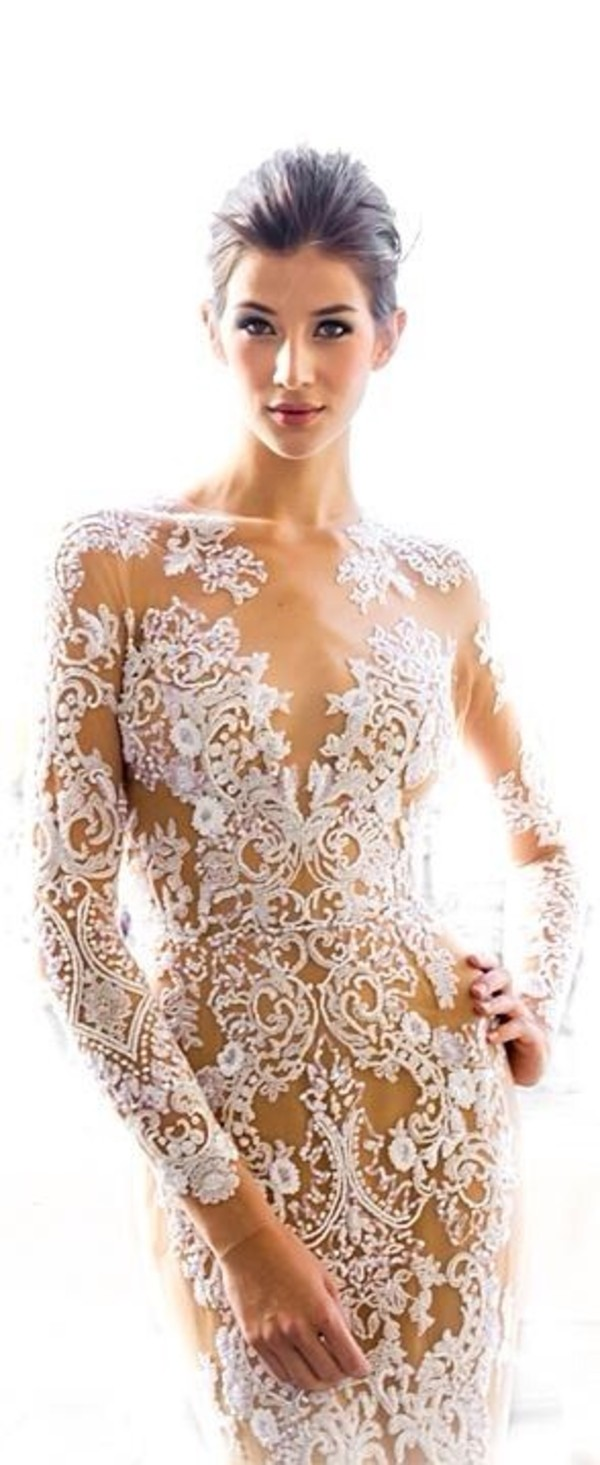 dress white lace floral see through white