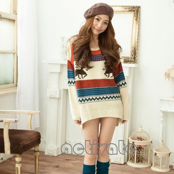 Womens Knitwear Blouse Outerwear Tops Block Fairisle Nordic Reindeer Sweater New | eBay