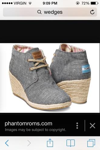 shoes wedges toms grey heel