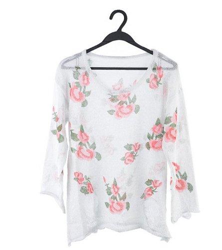 Women Oversized Floral Distressed Frayed Jumper Hole Knitwear Sweater Coat Tops | eBay