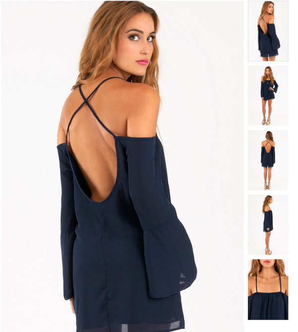 dress navy off the shoulder open back