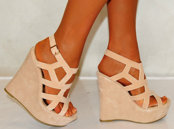 Shoes: nude wedges summer high heels beige sandals cute