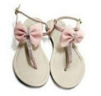 shoes sandals pink noeud
