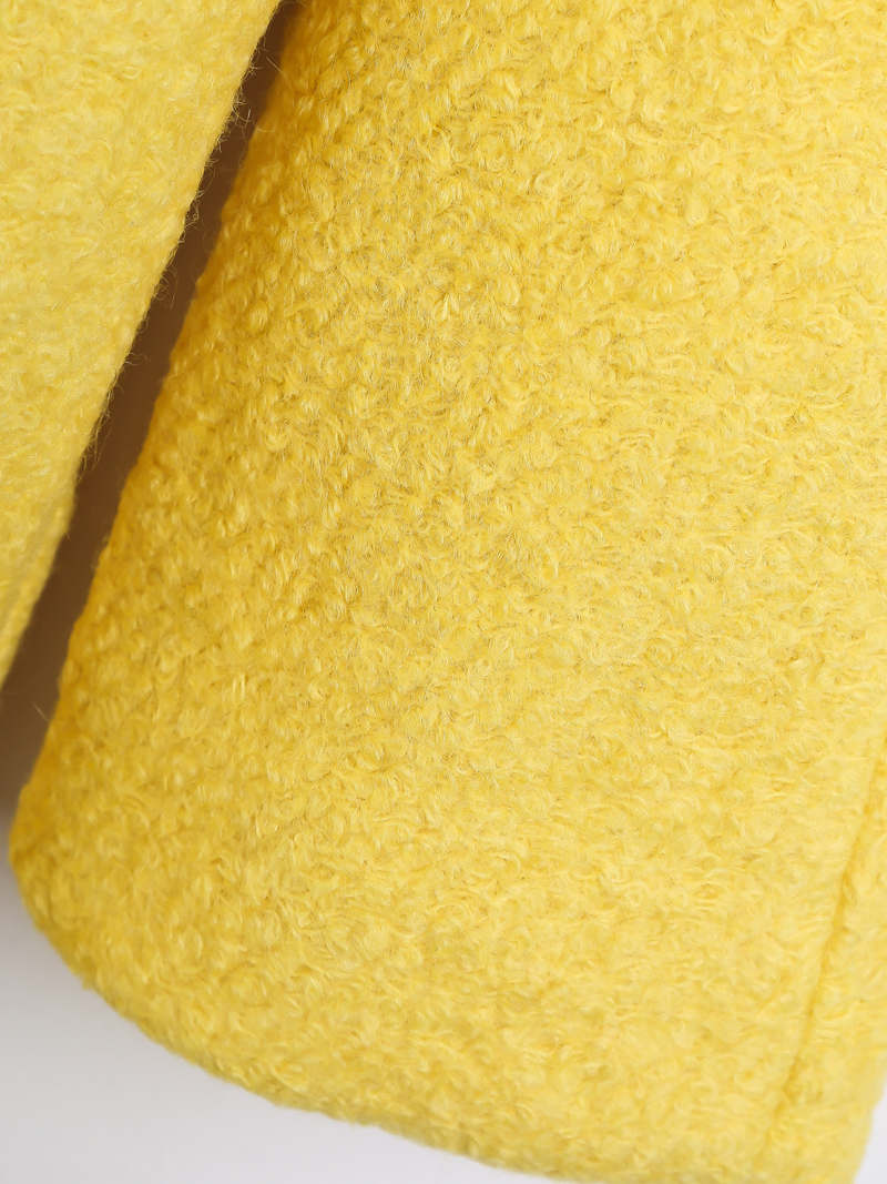 Abrigo de lana simple manga larga-Amarillo