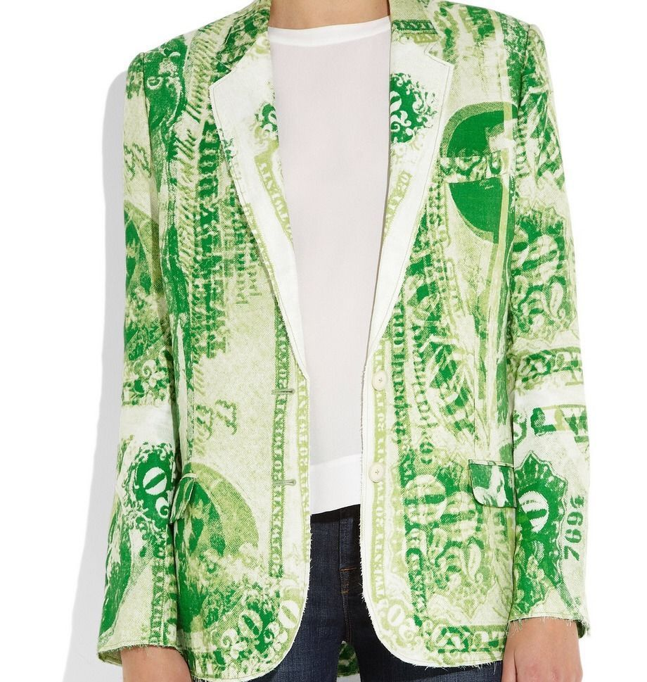 Acne Jinx Currency Jacket – Dollar Print Blazer Green – Blogger Favourite | eBay