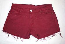 Burgundy RED LOW MID Rise CUT OFF Jean Denim Vintage Hotpants Shorts M 12 14   eBay