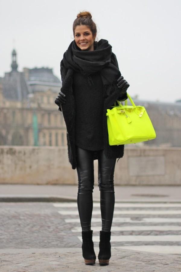 bag scarf jacket pants shoes neon
