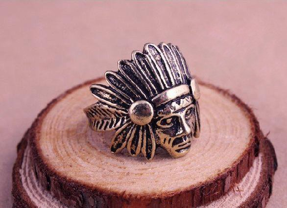 cute vintage jewelry Indian chiefs head ring for woman free shipping  Wholesale    R0047-in Rings from Jewelry on Aliexpress.com