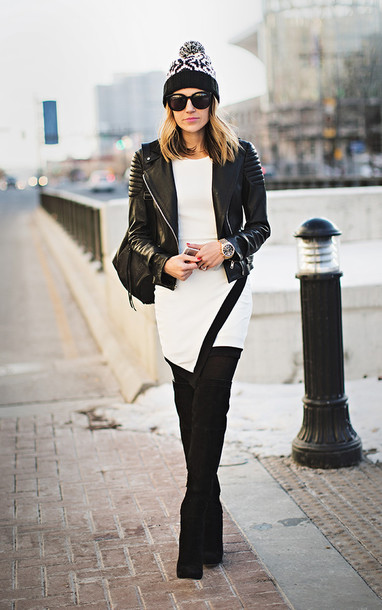 hello fashion blogger dress jacket hat shoes sunglasses tights jewels opaque tights