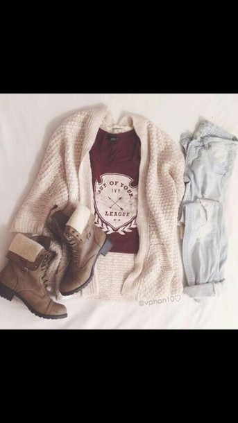 cardigan combat boots boots brown boots red shirt t-shirt tan cardigan jeans blue skinny jeans shirt shoes