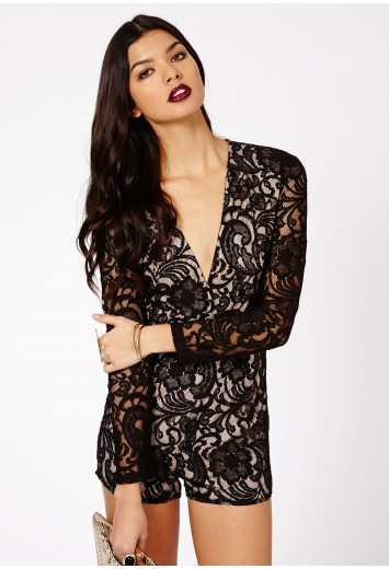 Andreia Lace Plunge Long Sleeve Playsuit - Jumpsuits & Playsuits - Clothing - Missguided