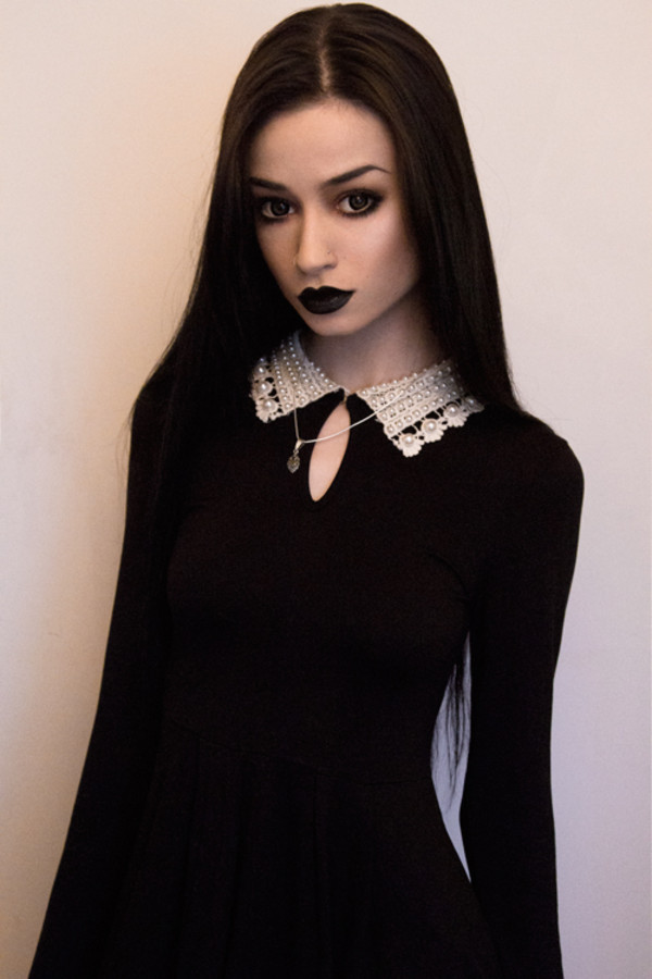 dress felice fawn goth punk classic black collar collared dress pastel goth grunge hipster