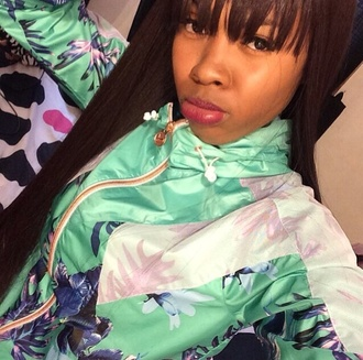 jacket chinese cherry blossom green flowers windbreaker palm leaves tink