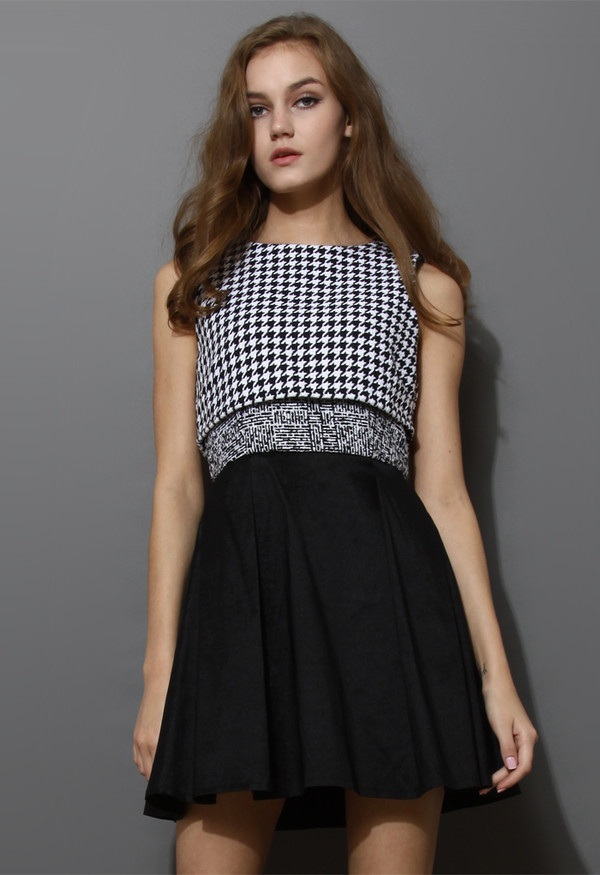 dress houndstooth open back sleeveless