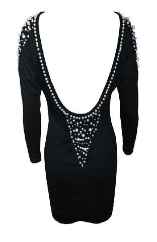 RawGlitter.com | Black Pearl Open Back Short Dress | RawGlitter.com