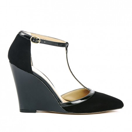 Sole Society - T-strap wedges - Jolie  - Black