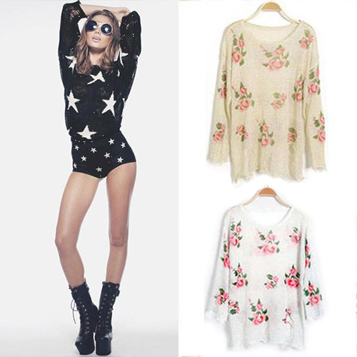 Oversized Star Floral Distressed Frayed Jumper Hole Knitwear Sweater Black White | eBay