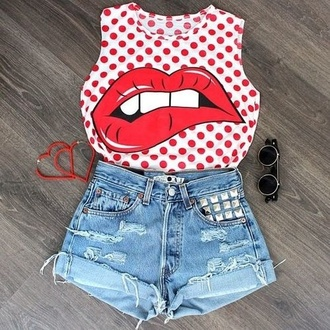 t-shirt jewels sunglasses shorts lip print lips red white red and white polka dots crop tops tank top lip shirt red shirt pretty blouse