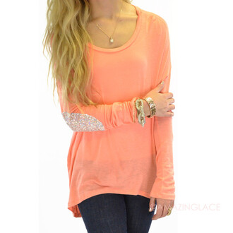 shirt hi-low top silver sequins candy spring outfits glamour glitz comfy tops coral sequin elbow patch