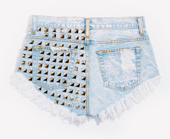 Dangers Stoner Wash Studded Babe Shorts | RUNWAYDREAMZ