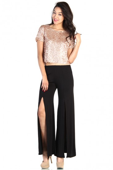 LoveMelrose.com From Harry & Molly   Rose Gold Sequin Crop Top