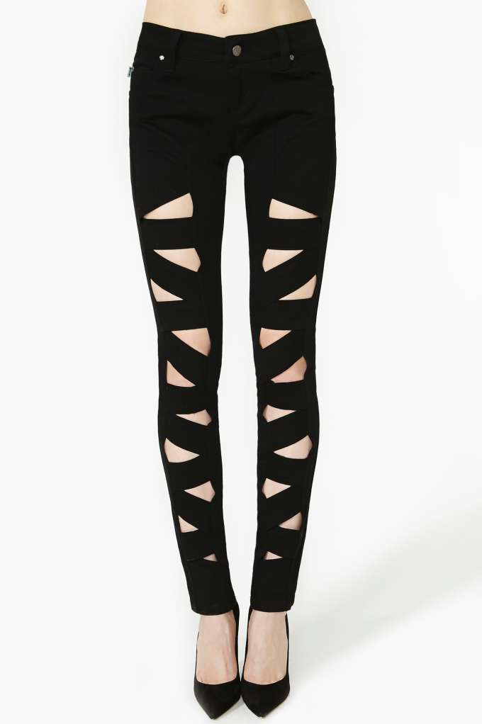 Tripp NYC Lattice Leg Skinny Jeans in  Clothes Bottoms Denim at Nasty Gal
