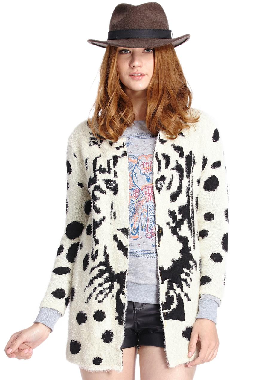 ROMWE | Tiger Print Polka Dots White Cardigan, The Latest Street Fashion