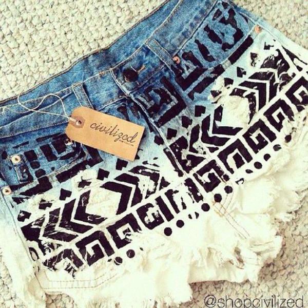 shorts denim denim shorts pattern black dip dyed civilized aztec high waisted