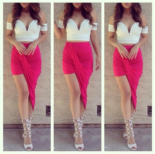skirt shirt shoes hot pink pink summer outfits blouse