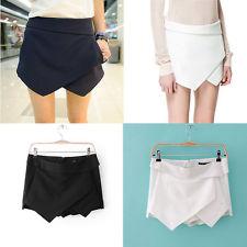 Womens Fashion Wrap Mini Skort Skirt Irregular Laminated Flanging Short Culottes   eBay