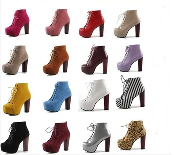 HOT 17 Styles Size35 40 New 2014 Jeffrey Campbell Imitation Women High Heel Motorcycle Ankle Boots Lace Up Platform Martin Boots-in Boots from Shoes on Aliexpress.com