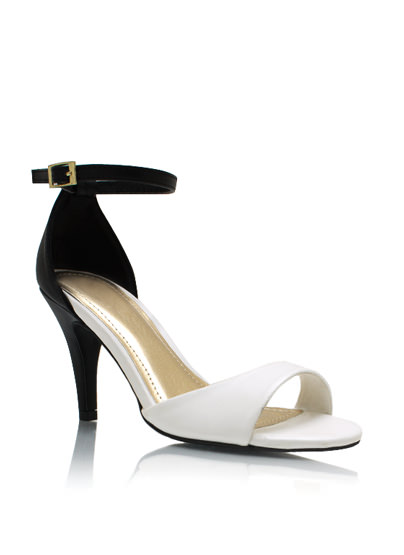 GJ   Two-Tone Up Single-Sole Heels $21.20 in WHITEBLACK - Single-Sole Heels   GoJane.com
