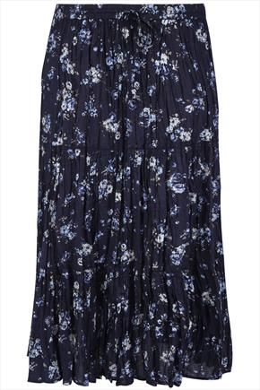 Navy Blue Floral Ditsy Print Maxi Skirt With Crochet Detail plus size 16,18,20,22,24,26,28,30,32,34,