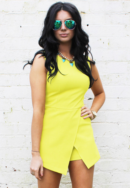 Sleeveless Skort Style Playsuit in Acid Yellow Green – One Nation Clothing